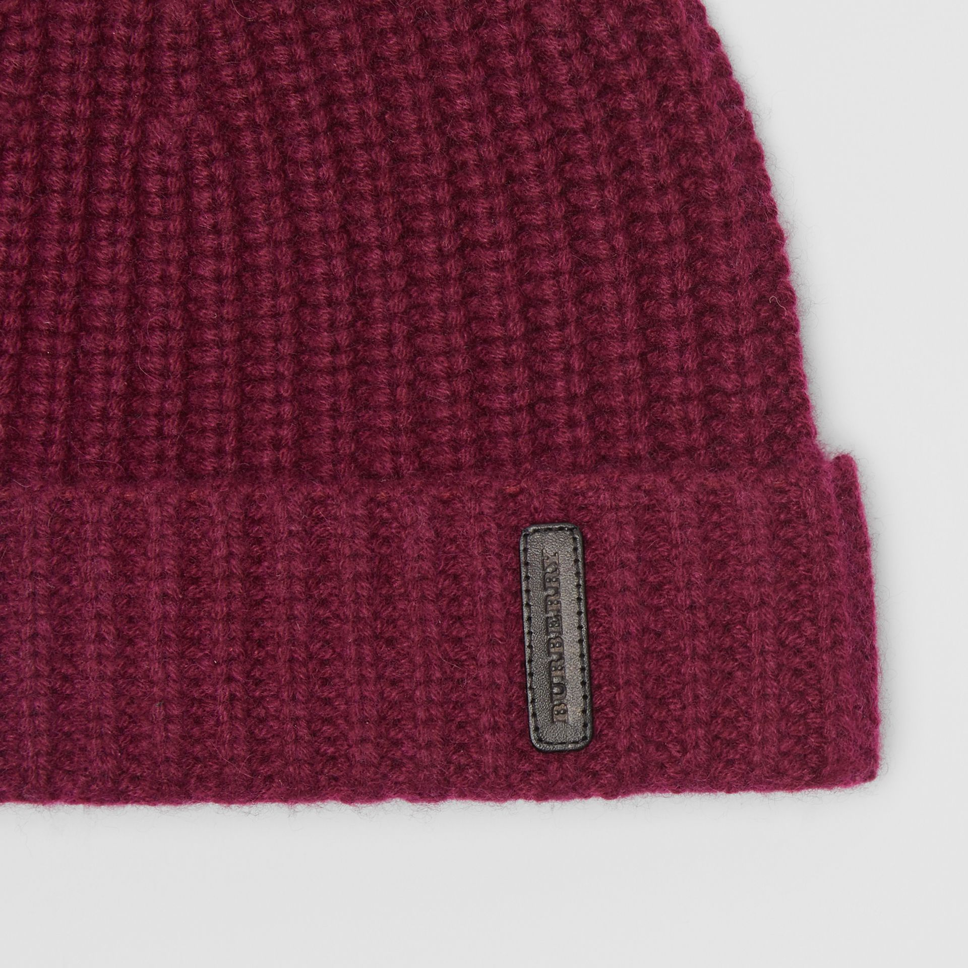 Rib Knit Cashmere Beanie in Dark Elderberry | Burberry - gallery image 1