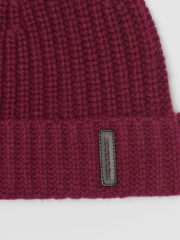 Rib Knit Cashmere Beanie in Dark Elderberry | Burberry - cell image 1