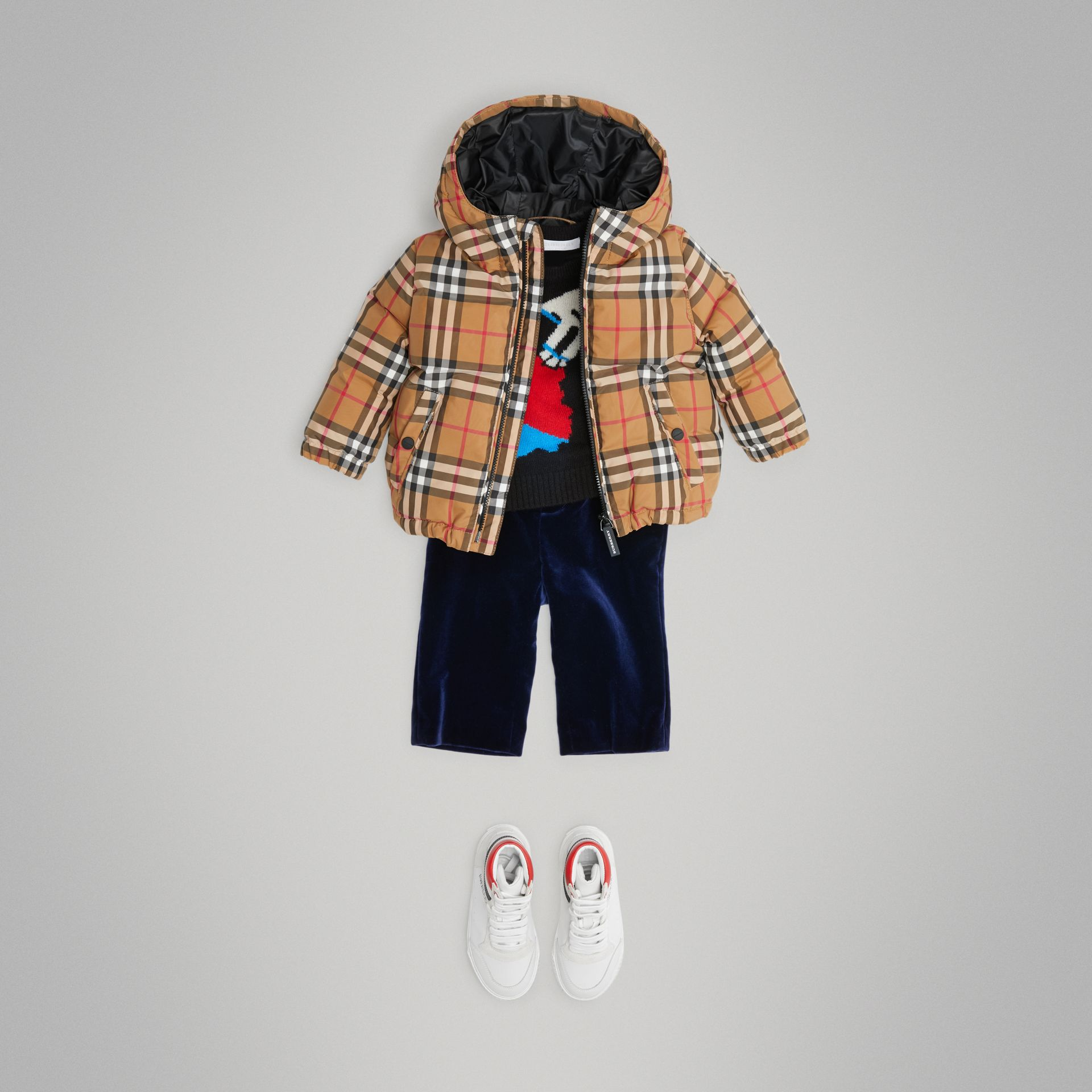 Vintage Check Down-filled Hooded Jacket in Antique Yellow - Children | Burberry - gallery image 2