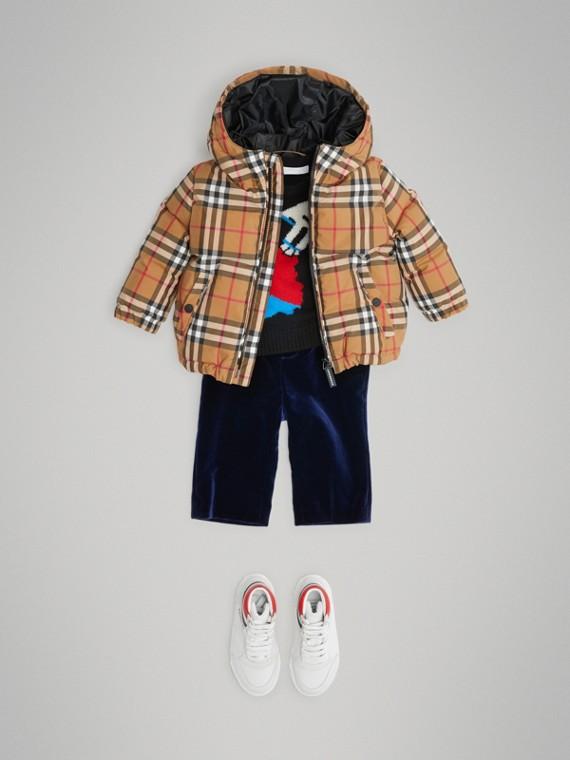 빈티지 체크 다운 후드 재킷 (앤티크 옐로)