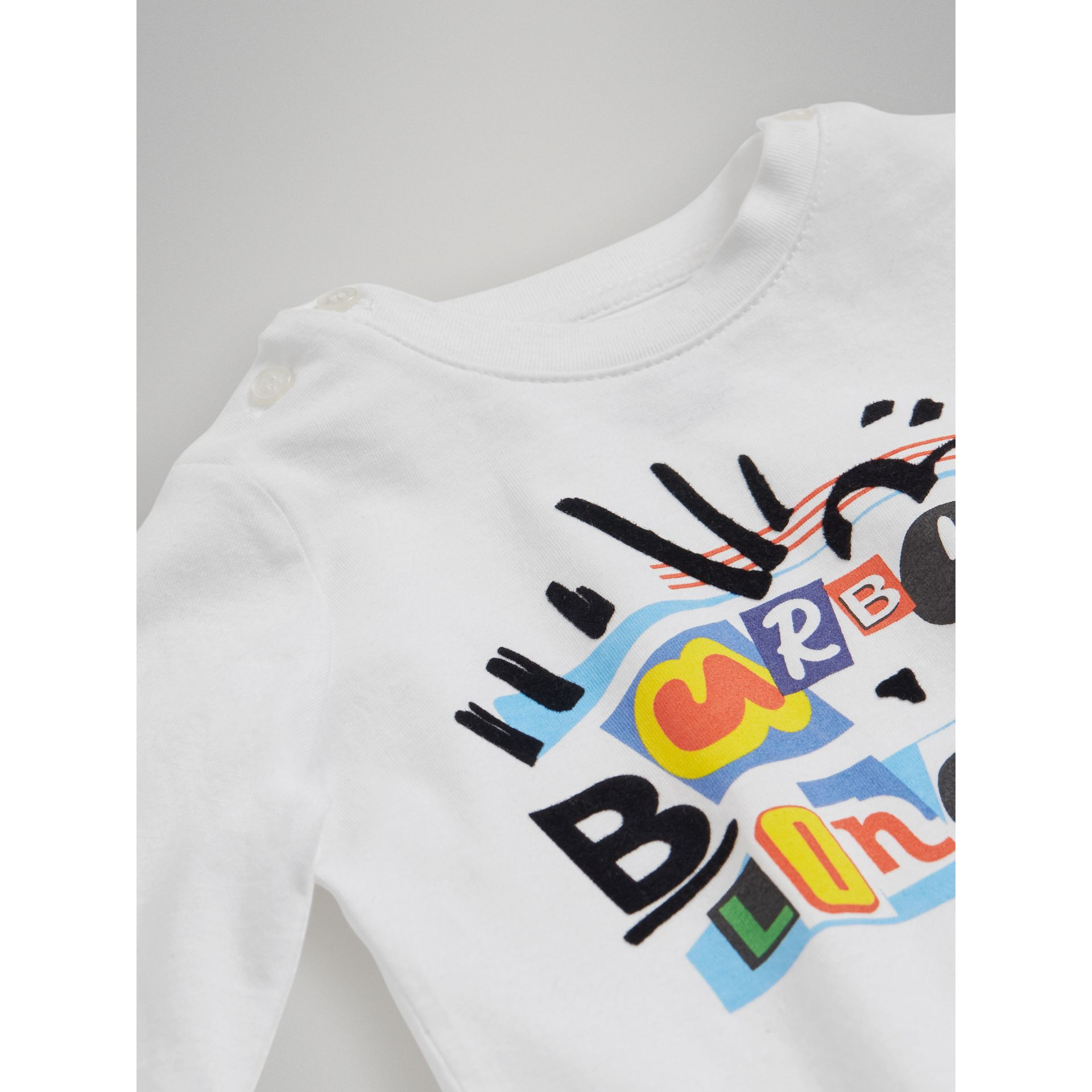 Long-sleeve Logo Print Cotton T-shirt in White - Children | Burberry United Kingdom - gallery image 1