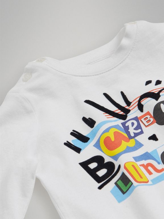 Long-sleeve Logo Print Cotton T-shirt in White - Children | Burberry United Kingdom - cell image 1