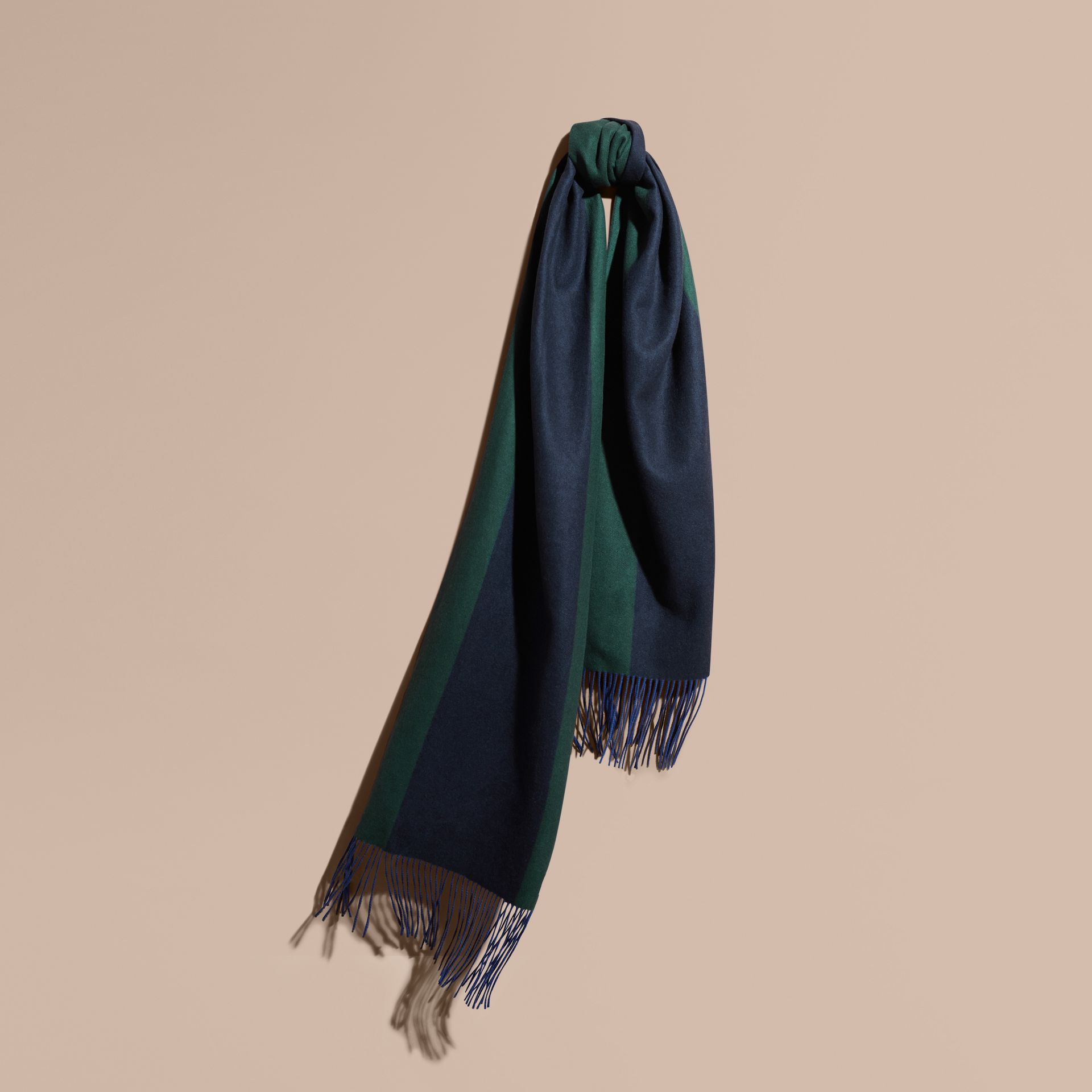Dark forest green Oversize Striped Cashmere Scarf Dark Forest Green - gallery image 1