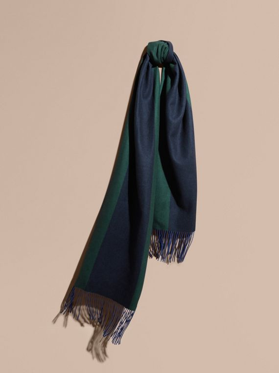 Oversize Striped Cashmere Scarf Dark Forest Green