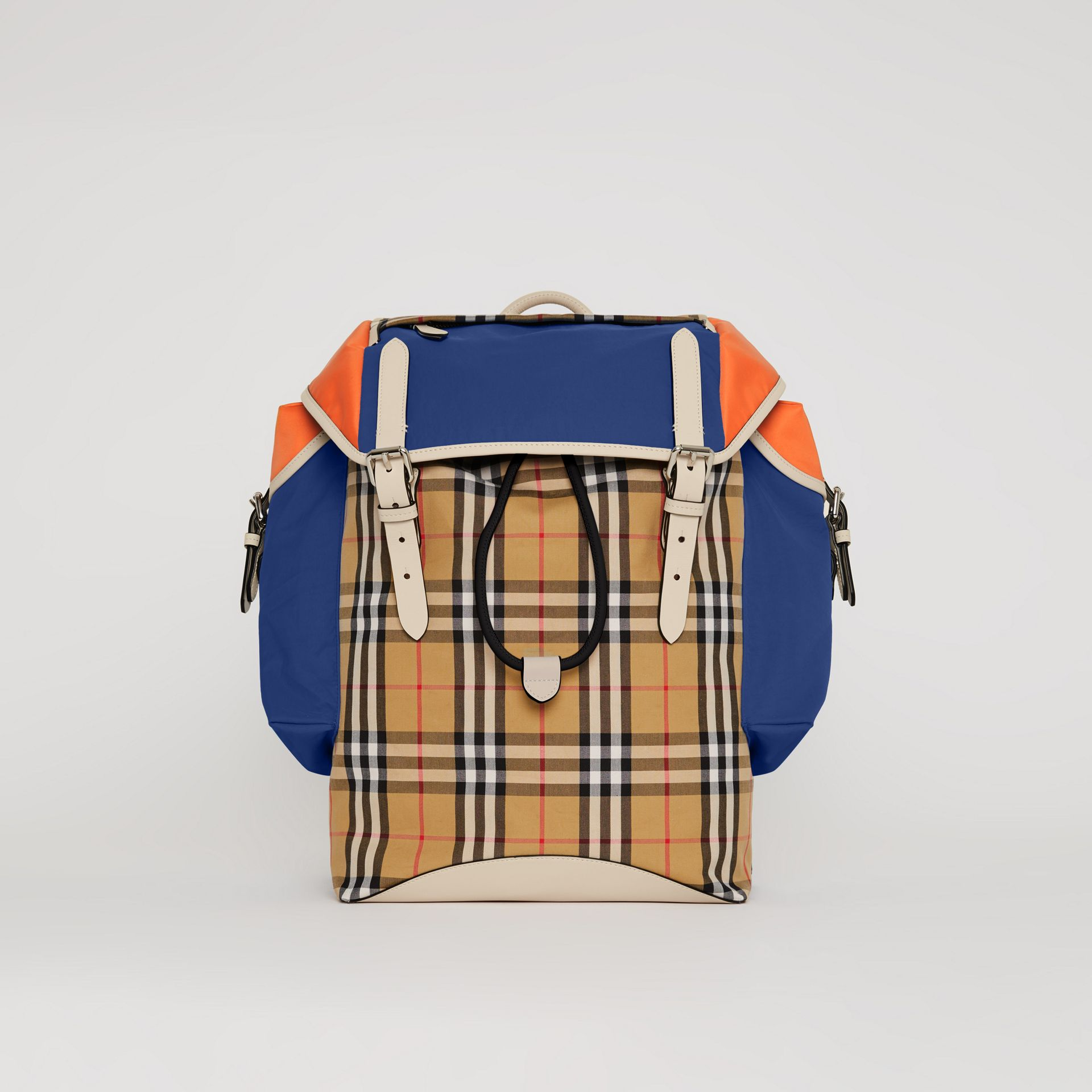 Colour Block Vintage Check and Leather Backpack in Cerulean Blue - Men | Burberry Australia - gallery image 0