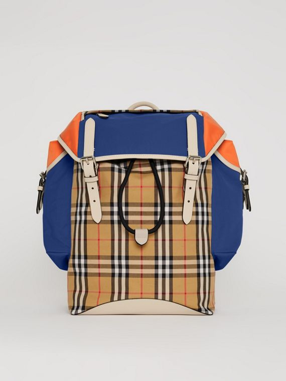 Colour Block Vintage Check and Leather Backpack in Cerulean Blue