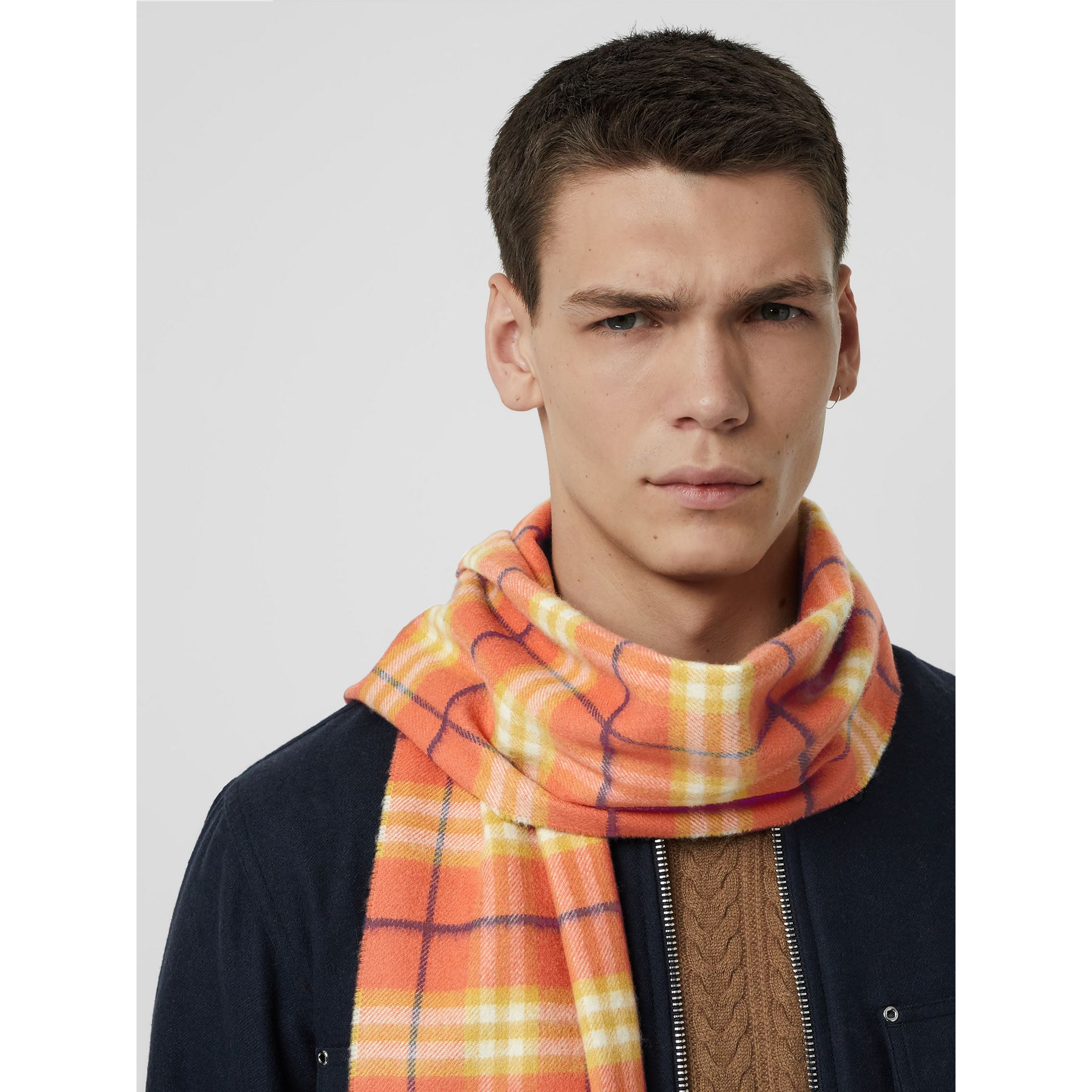 The Classic Vintage Check Cashmere Scarf in Coral | Burberry Singapore - gallery image 6
