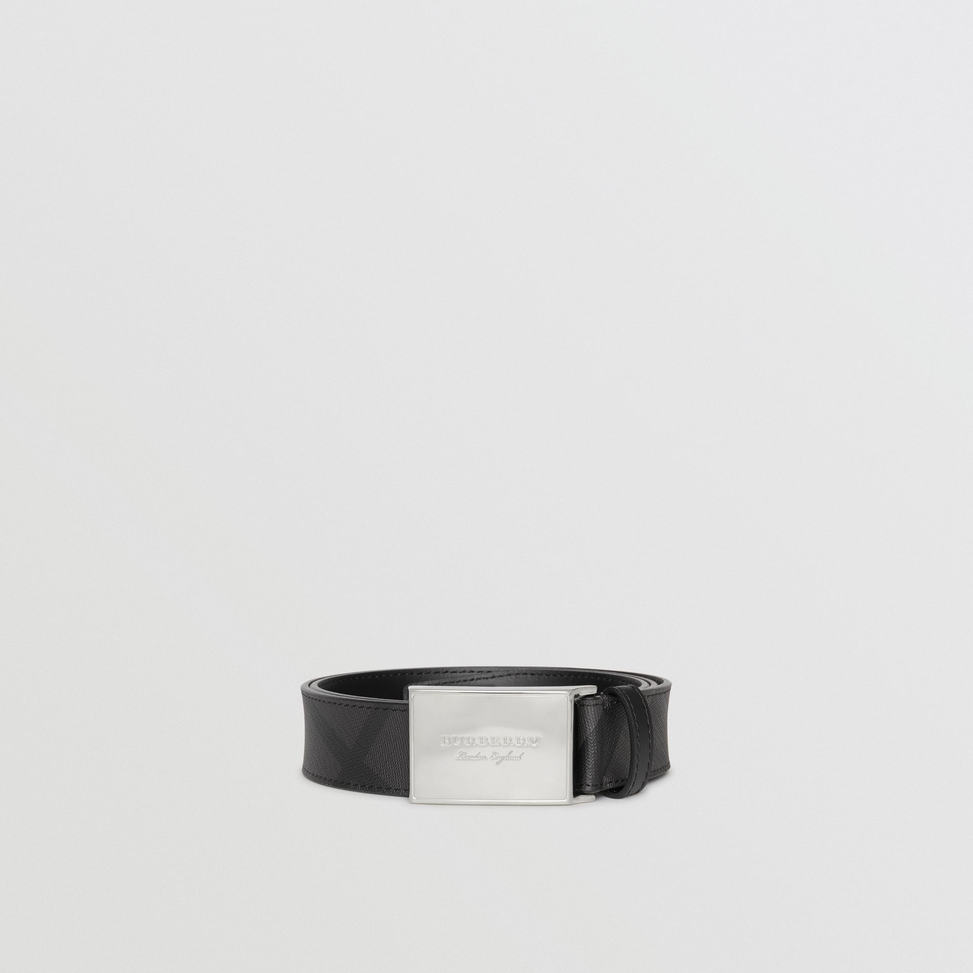 Plaque Buckle London Check  and Leather Belt in Charcoal/black - Men | Burberry Australia - gallery image 3