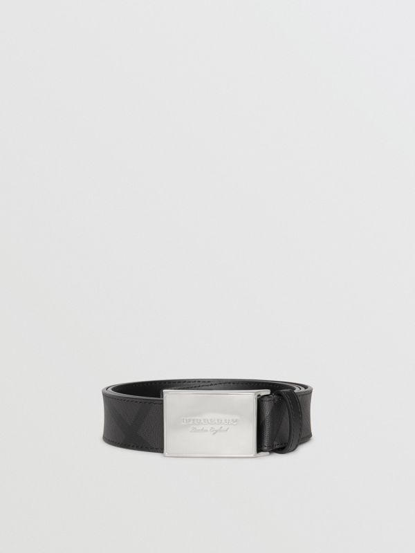 Plaque Buckle London Check  and Leather Belt in Charcoal/black - Men | Burberry - cell image 3