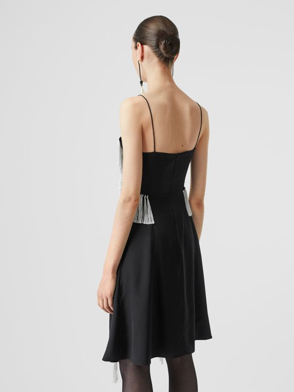 Fringe Detail Silk Satin Slip Dress in Black - Women | Burberry - cell image 3