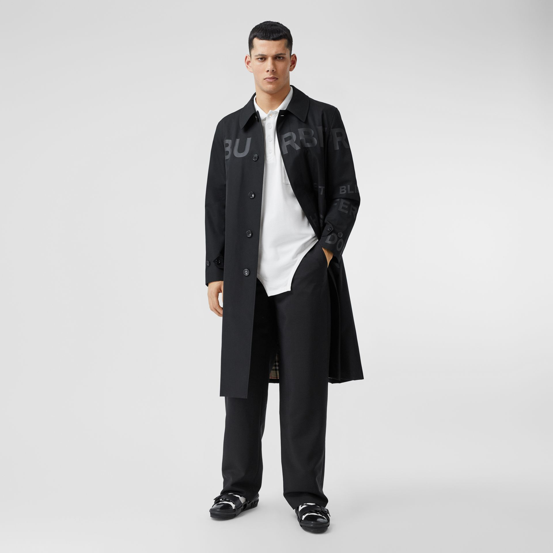 Horseferry Print Cotton Gabardine Car Coat in Black - Men | Burberry - gallery image 0