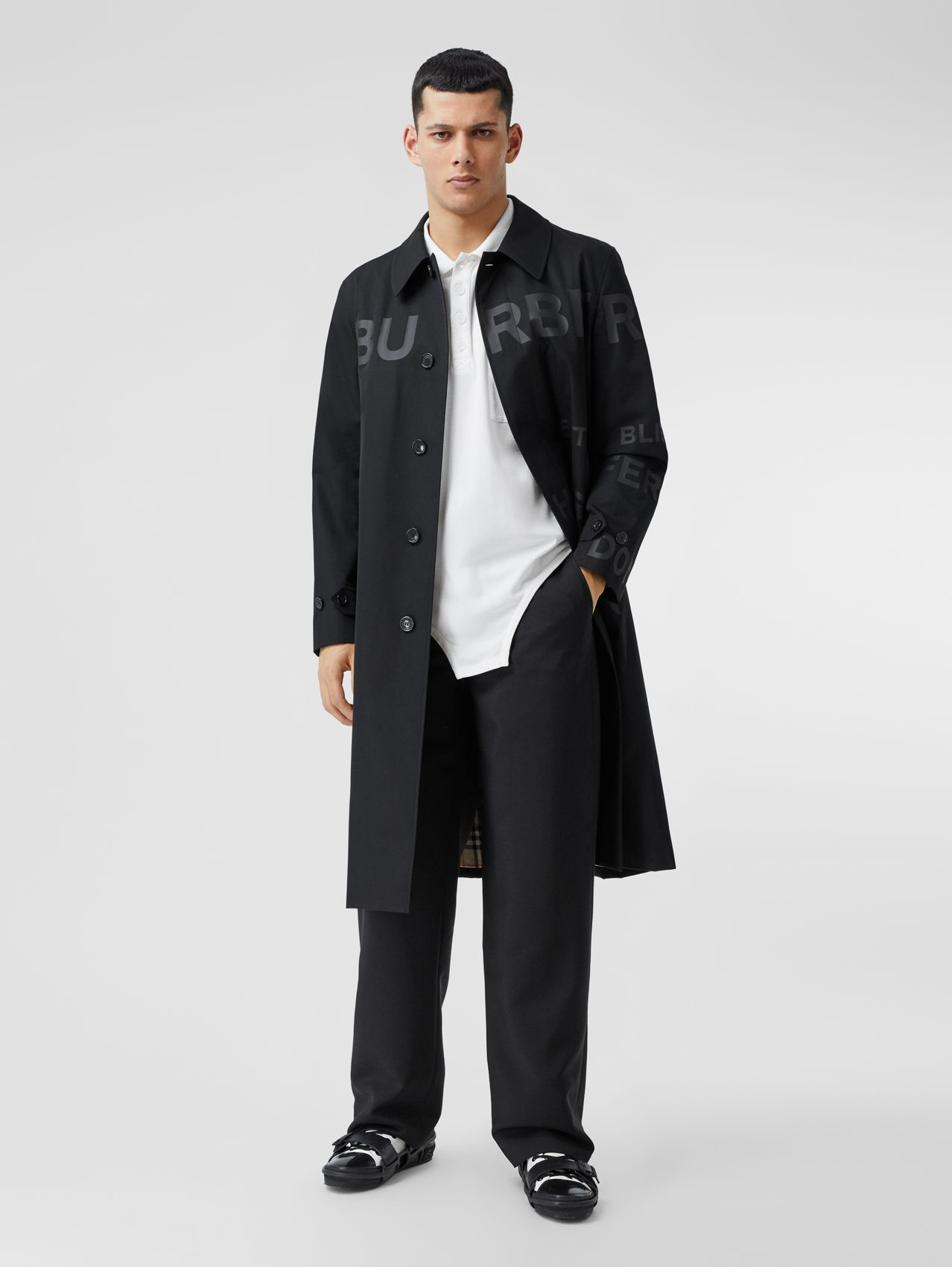 Horseferry Print Cotton Gabardine Car Coat (Black)