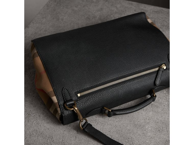 Sac cartable en cuir et coton House check (Noir) - Homme | Burberry - cell image 4