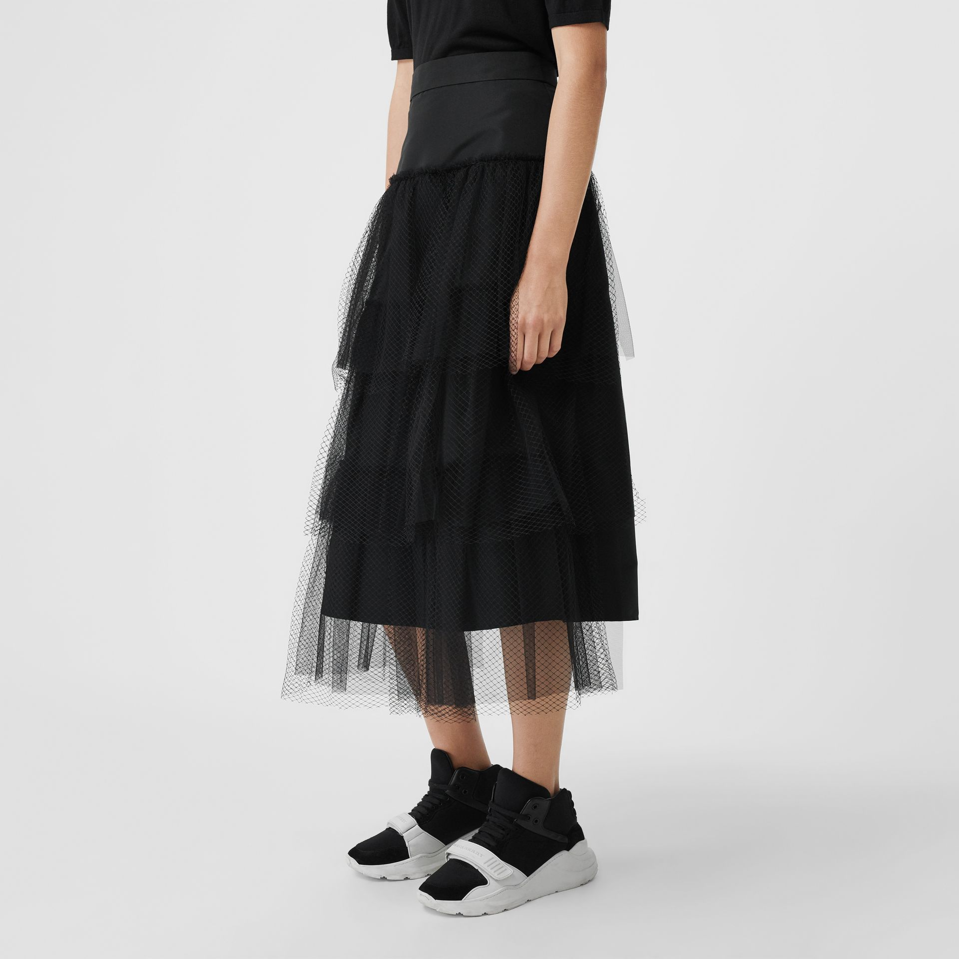 Tiered Tulle A-line Skirt in Black - Women | Burberry - gallery image 4