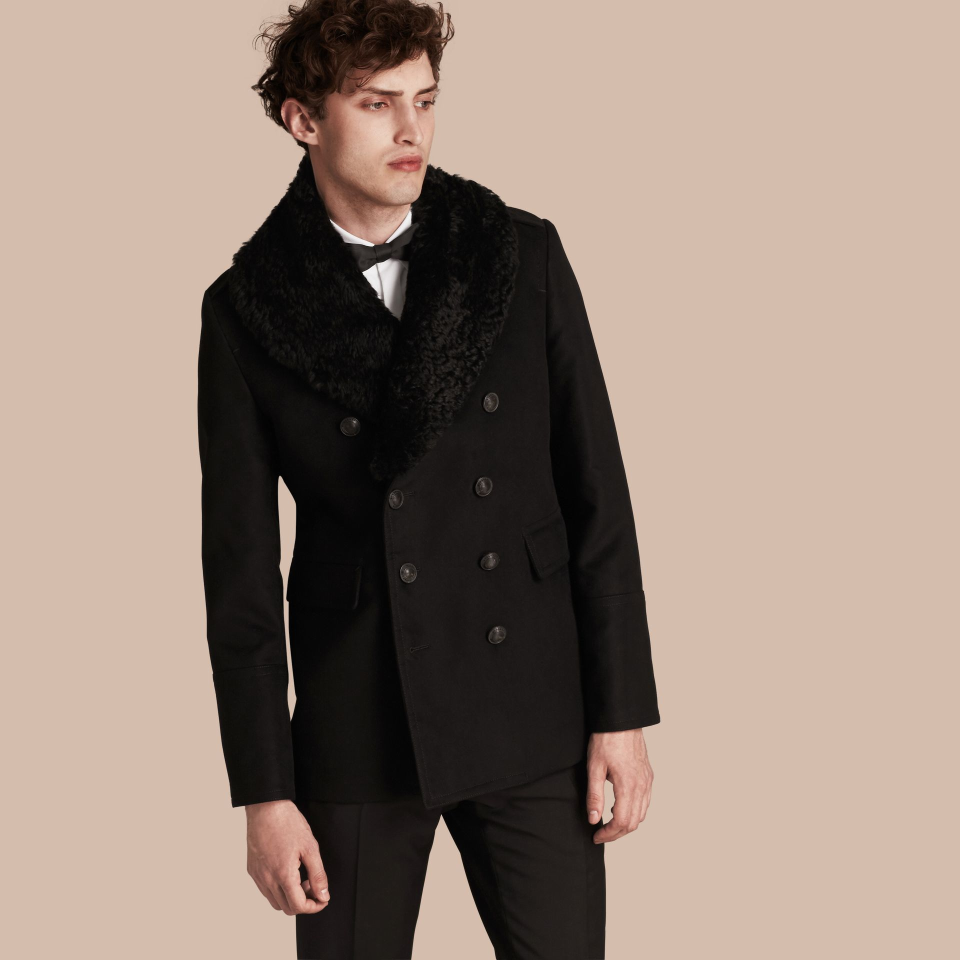 Black Technical-cotton Moleskin Pea Coat with Shearling Collar - gallery image 1