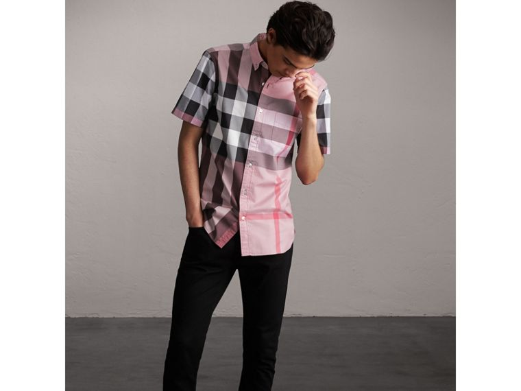 Button-down Collar Short-sleeve Check Cotton Shirt in Ash Rose - Men | Burberry - cell image 4
