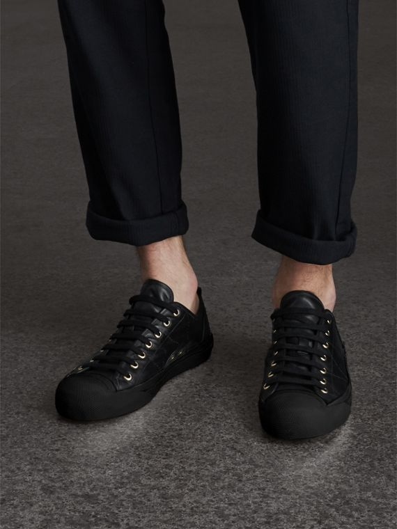 Topstitched Leather Trainers in Black - Men | Burberry - cell image 2