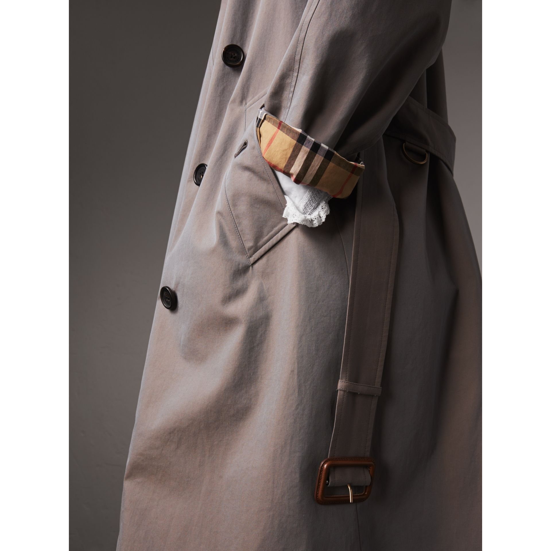 Tropical Gabardine Asymmetric Trench Coat in Lilac Grey - Women | Burberry - gallery image 1