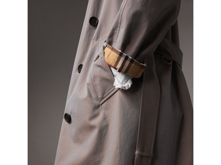 Tropical Gabardine Asymmetric Trench Coat in Lilac Grey - Women | Burberry Australia - cell image 1
