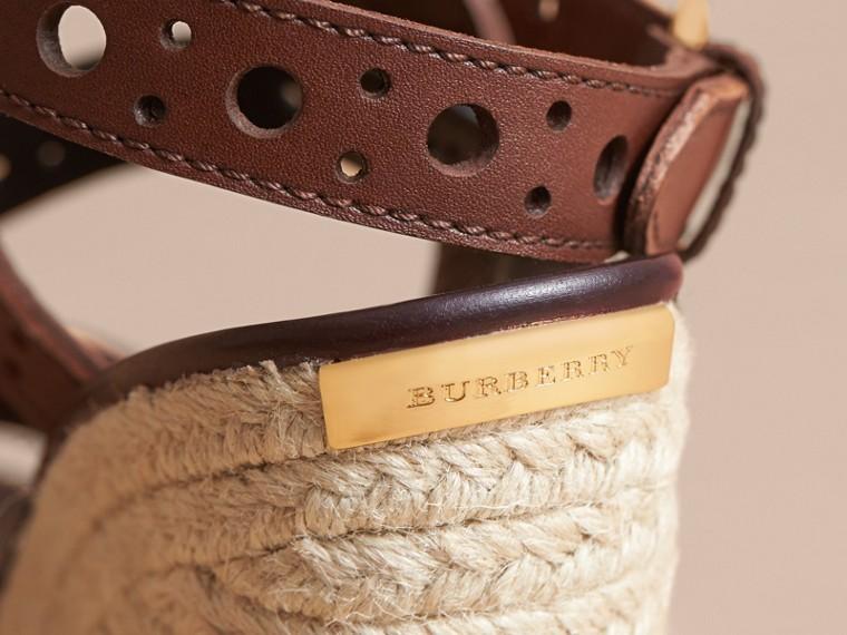 Riveted Leather Platform Espadrille Wedge Sandals - cell image 1