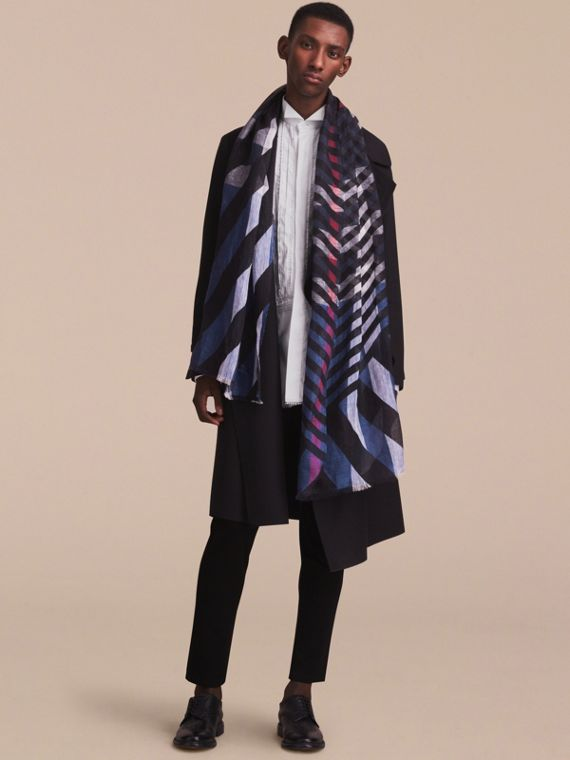 Lightweight Stripe Print Check Linen Scarf in Black/navy - Men | Burberry - cell image 2