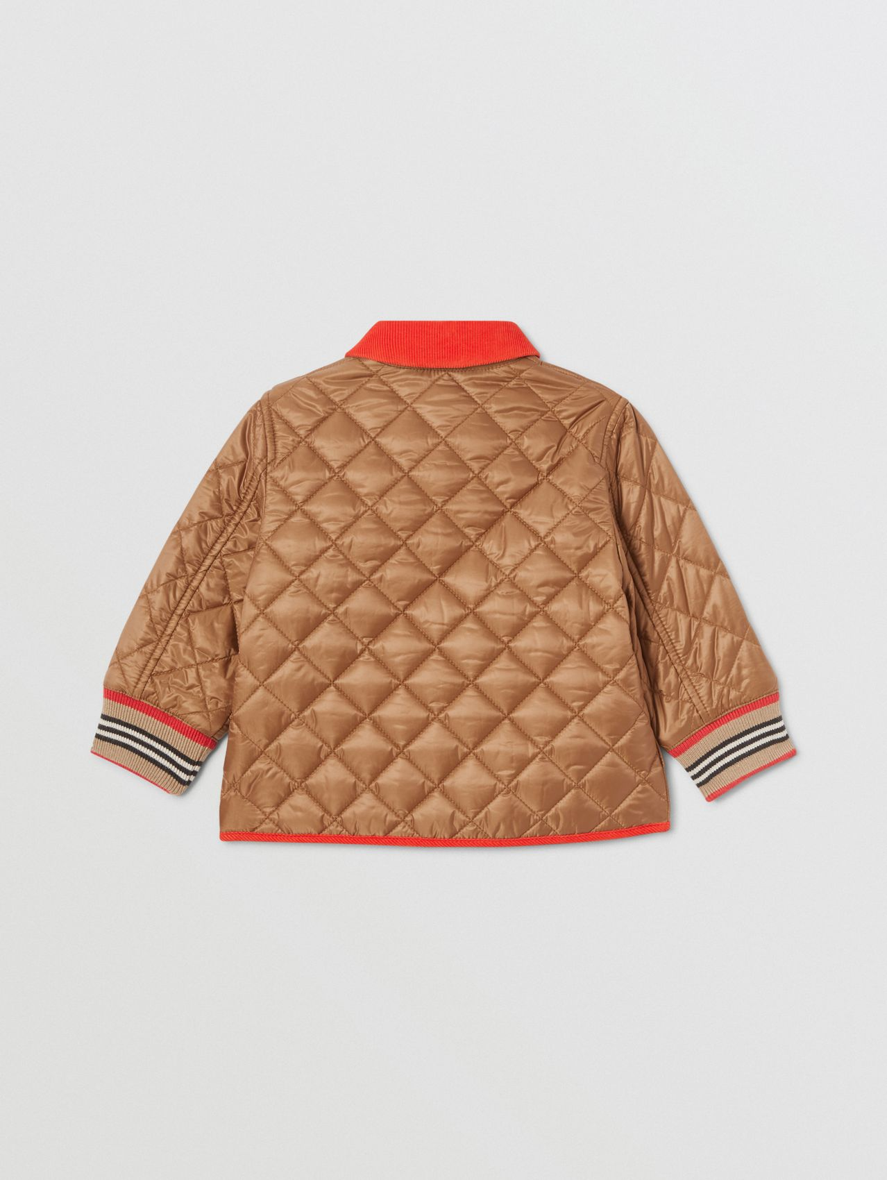 Corduroy Trim Lightweight Diamond Quilted Jacket in Bronze