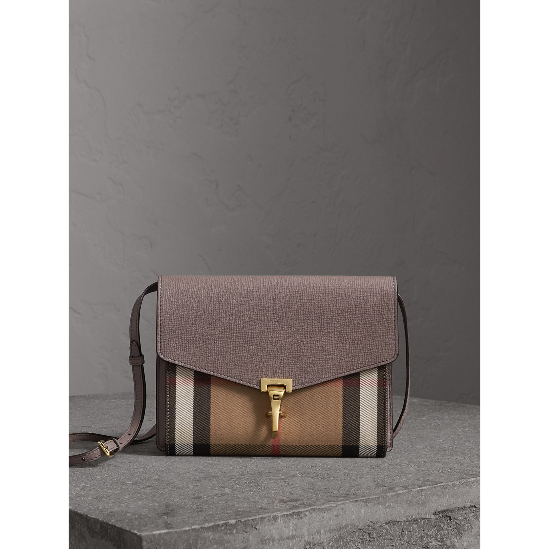 Small Leather and House Check Crossbody Bag in Thistle Grey - gallery image 1