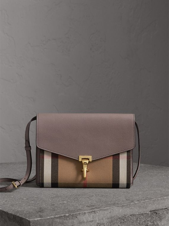 Small Leather and House Check Crossbody Bag in Thistle Grey