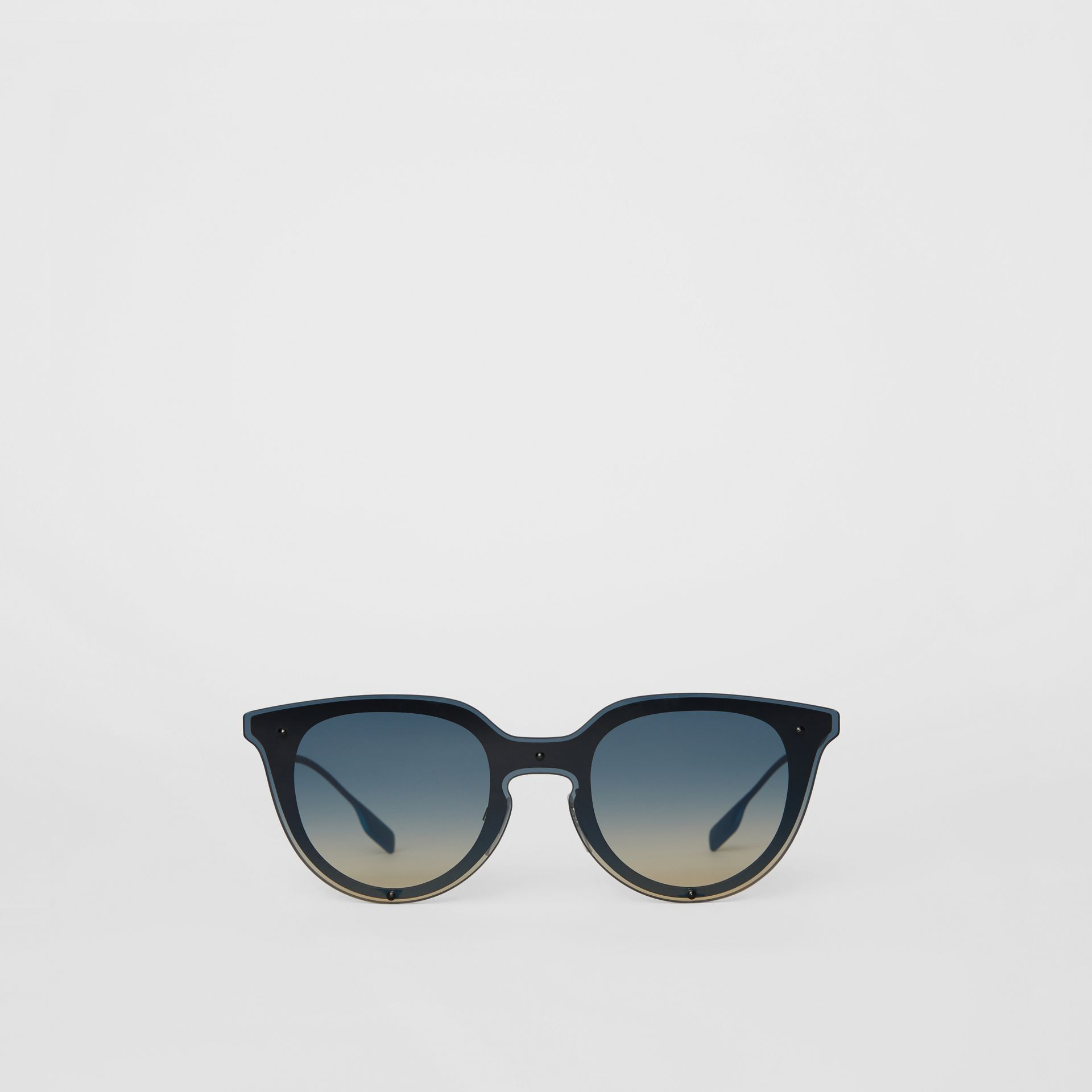 Keyhole Round Frame Shield Sunglasses in Blue - Women | Burberry - gallery image 0