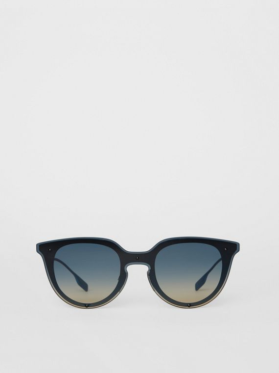 Keyhole Round Frame Shield Sunglasses in Blue