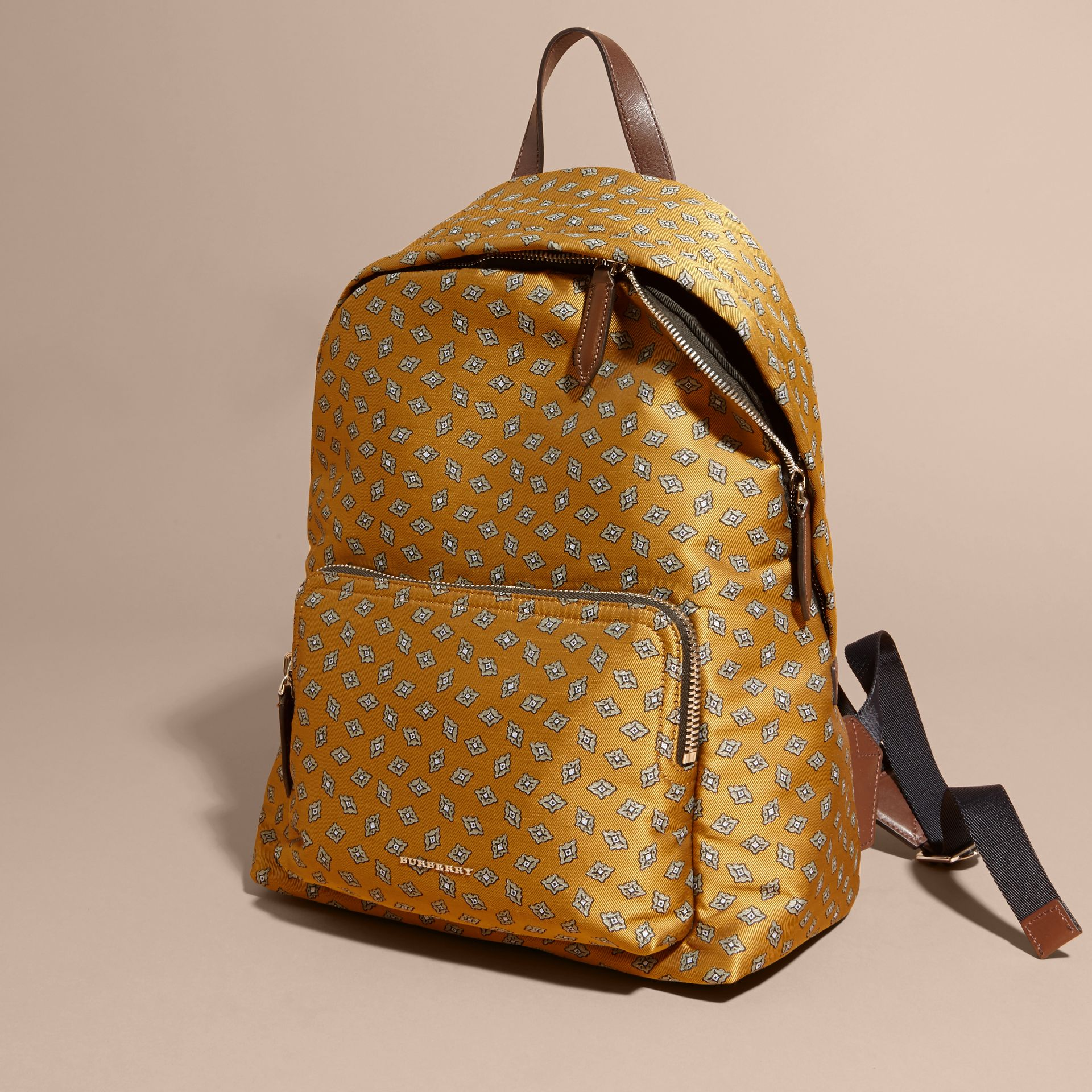 Citrus yellow Leather Trim Abstract Jacquard Backpack Citrus Yellow - gallery image 7