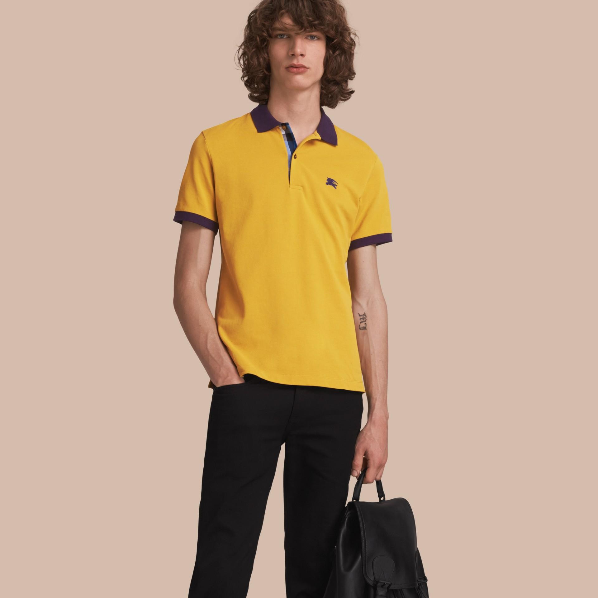 Two-tone Check Placket Cotton Piqué Polo Shirt Gorse Yellow - gallery image 1