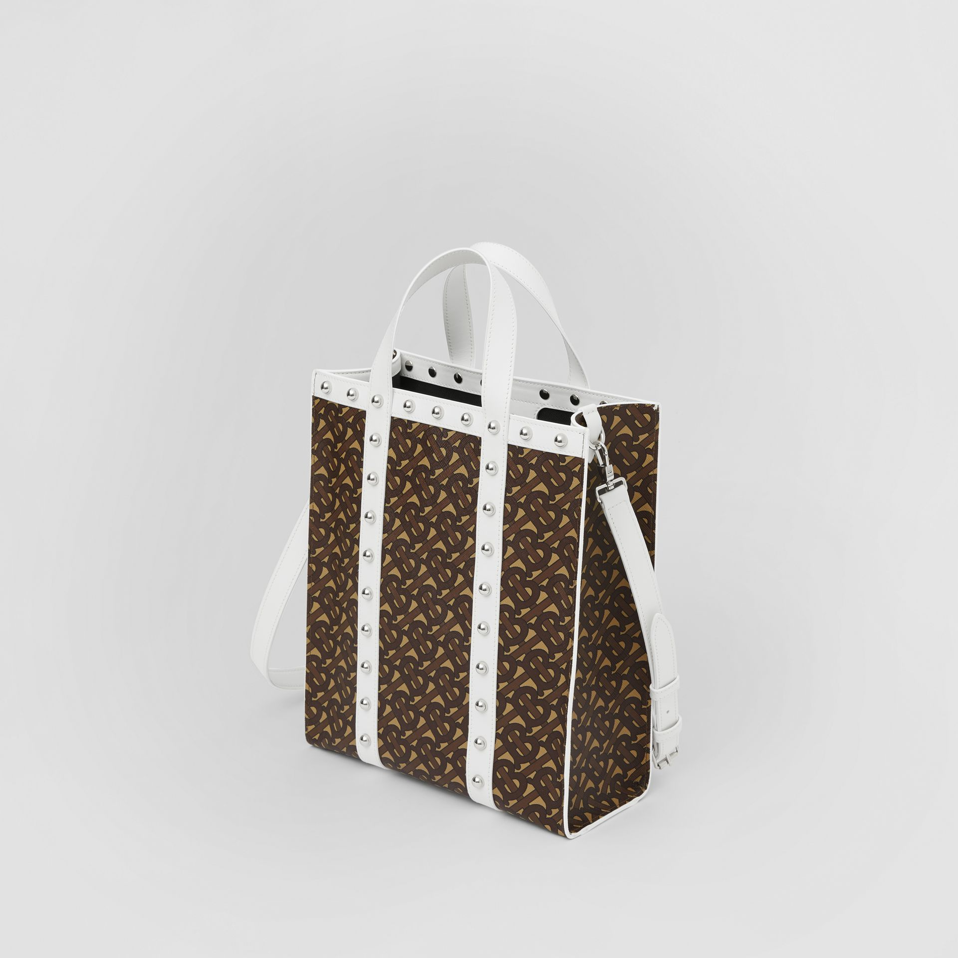 Small Monogram Print E-canvas Portrait Tote Bag in White - Women | Burberry Hong Kong S.A.R - gallery image 2