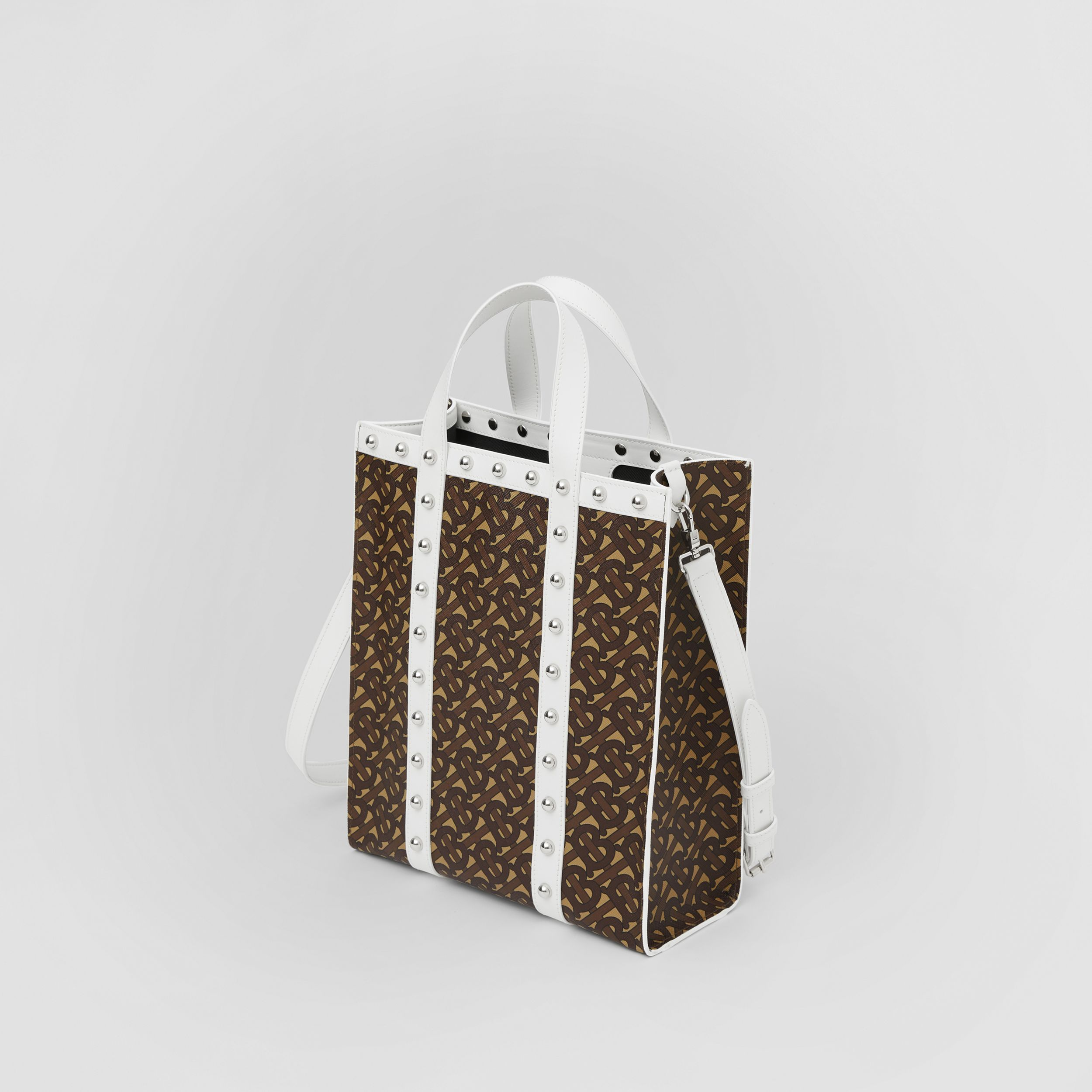 Small Monogram Print E-canvas Portrait Tote Bag in White - Women | Burberry - 3