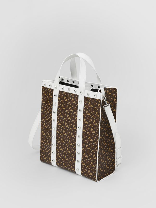 Small Monogram Print E-canvas Portrait Tote Bag in White - Women | Burberry Hong Kong S.A.R - cell image 2