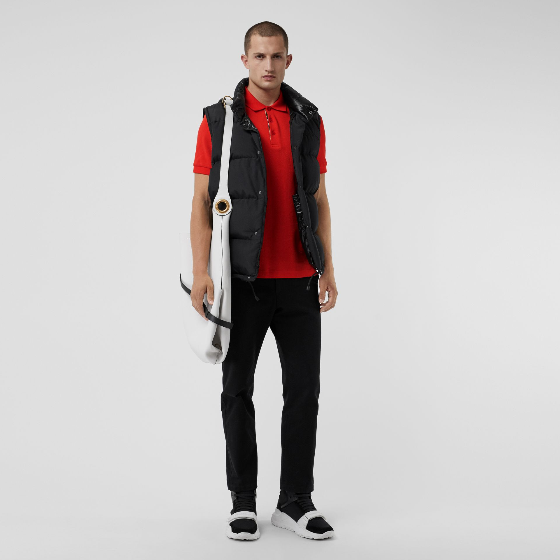 Check Placket Cotton Polo Shirt in Bright Red - Men | Burberry Singapore - gallery image 4