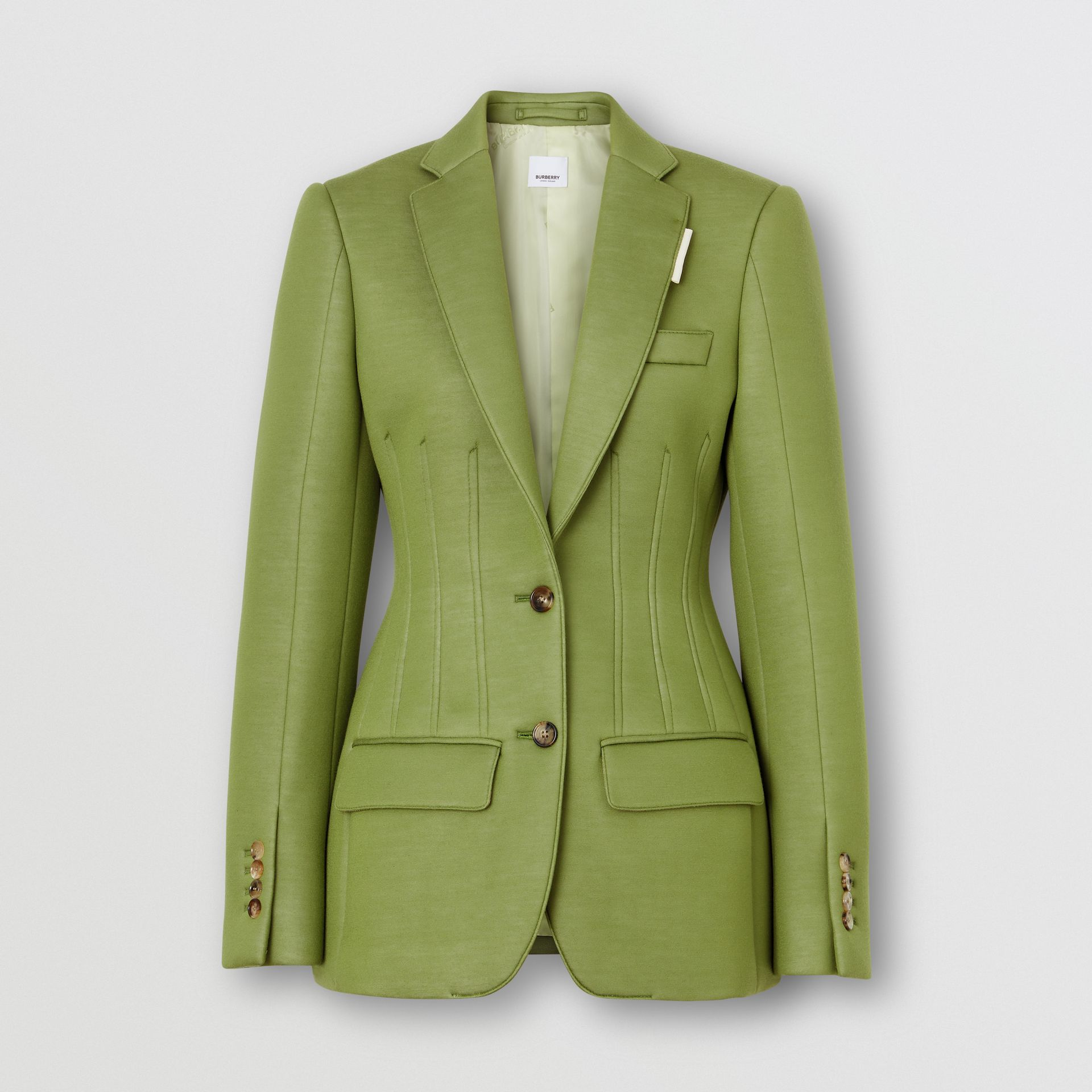 Double-faced Neoprene Tailored Jacket in Cedar Green - Women | Burberry - gallery image 3