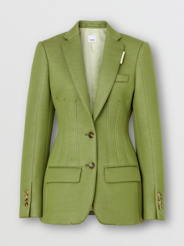 Double-faced Neoprene Tailored Jacket in Cedar Green - Women | Burberry - cell image 3