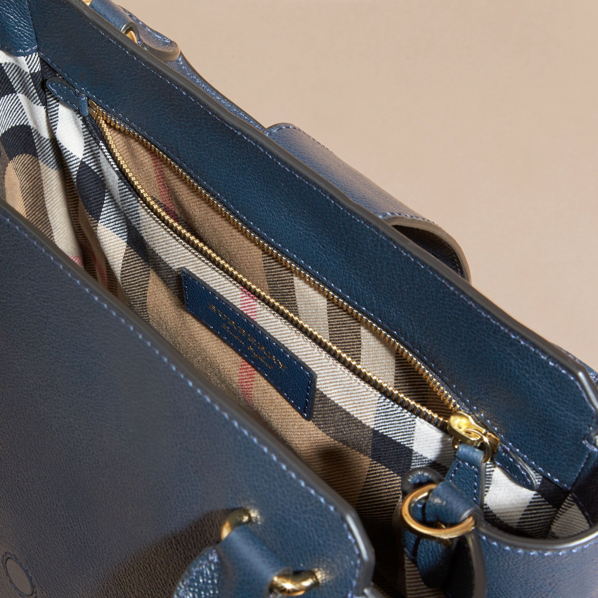 The Medium Buckle Tote in Grainy Leather Blue Carbon - gallery image 6