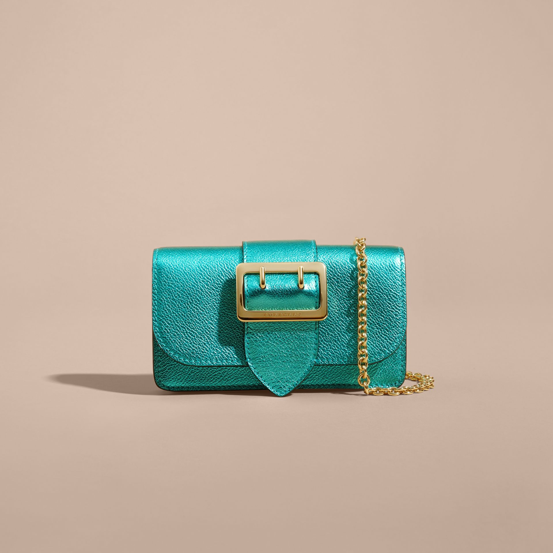 Emerald The Mini Buckle Bag in Metallic Grainy Leather Emerald - gallery image 9