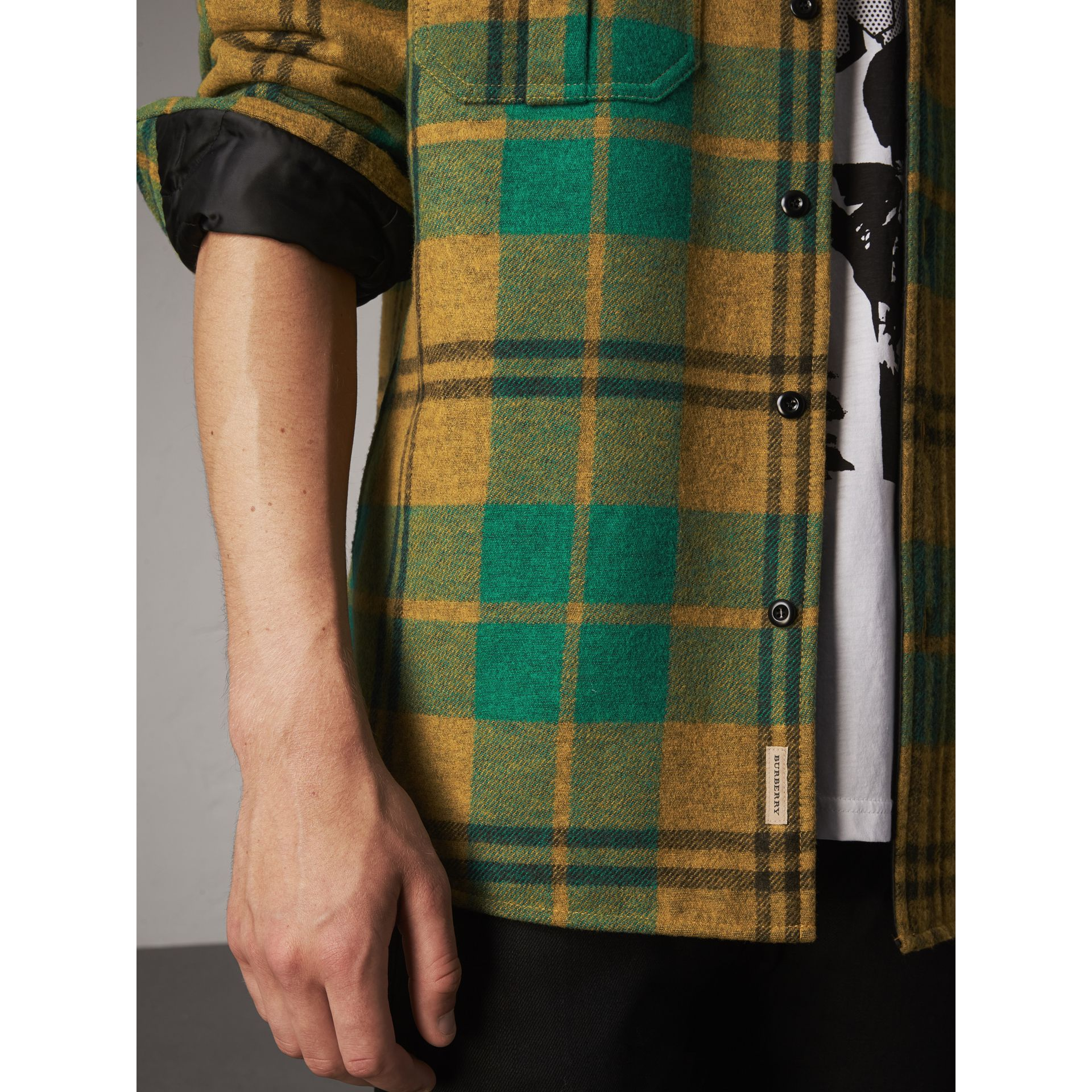 Quilt-lined Check Wool Cotton Blend Flannel Shirt in Amber Yellow - Men | Burberry - gallery image 2