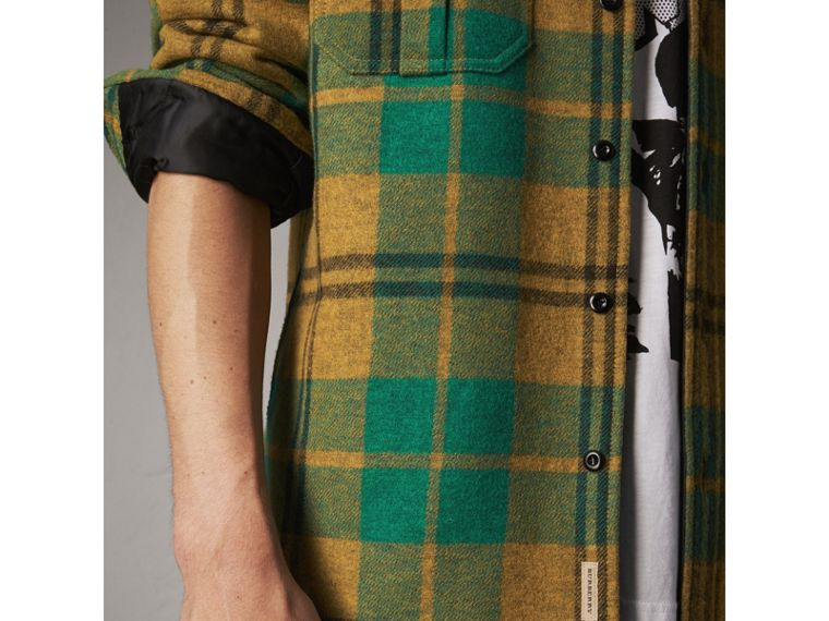 Quilt-lined Check Wool Cotton Blend Flannel Shirt in Amber Yellow - Men | Burberry - cell image 1