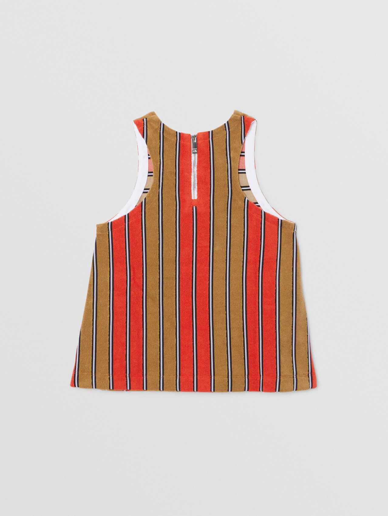 Logo Appliqué Striped Towelling Top in Vermilion Red