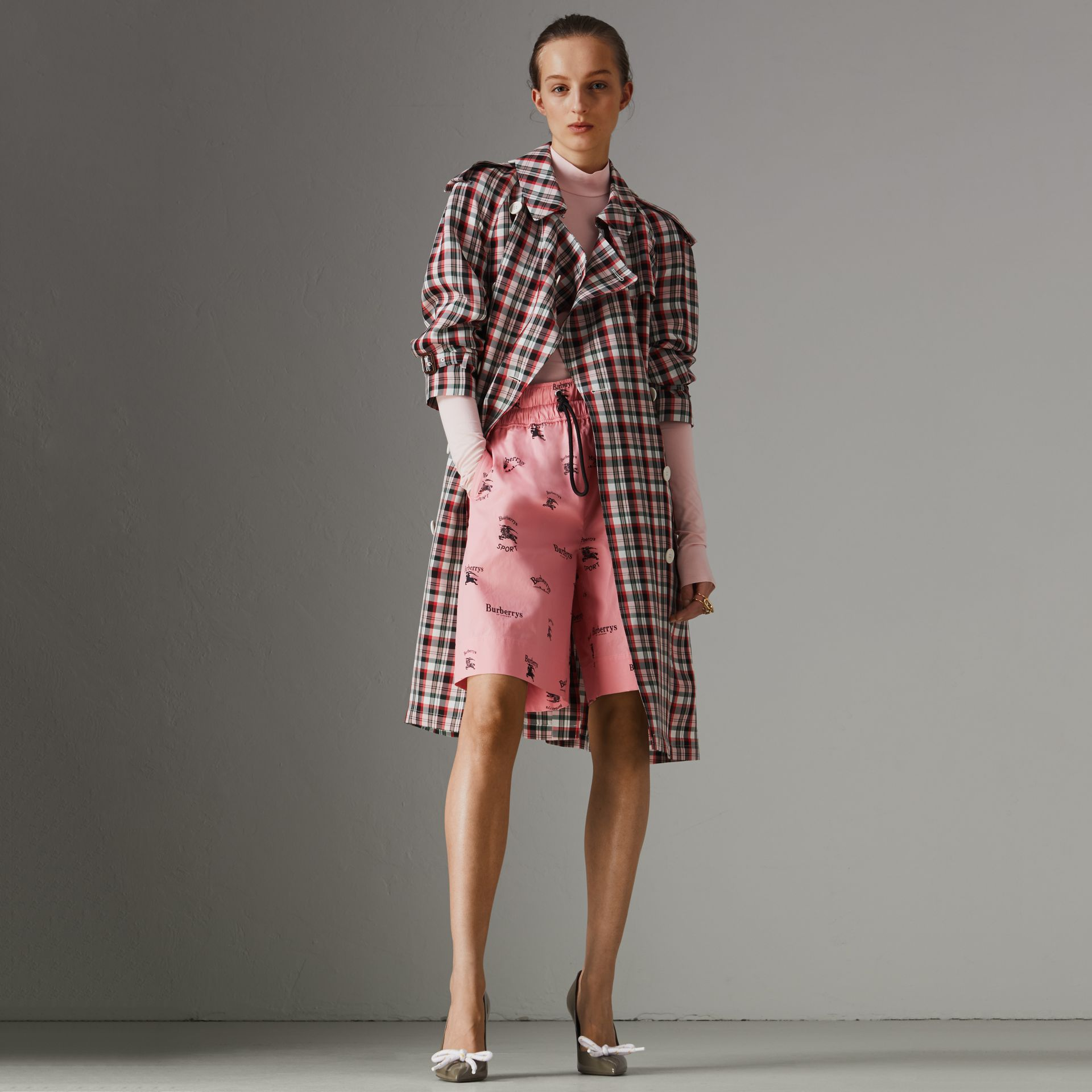 Relaxed Fit Check Trench Coat in Bright Red - Women | Burberry - gallery image 0