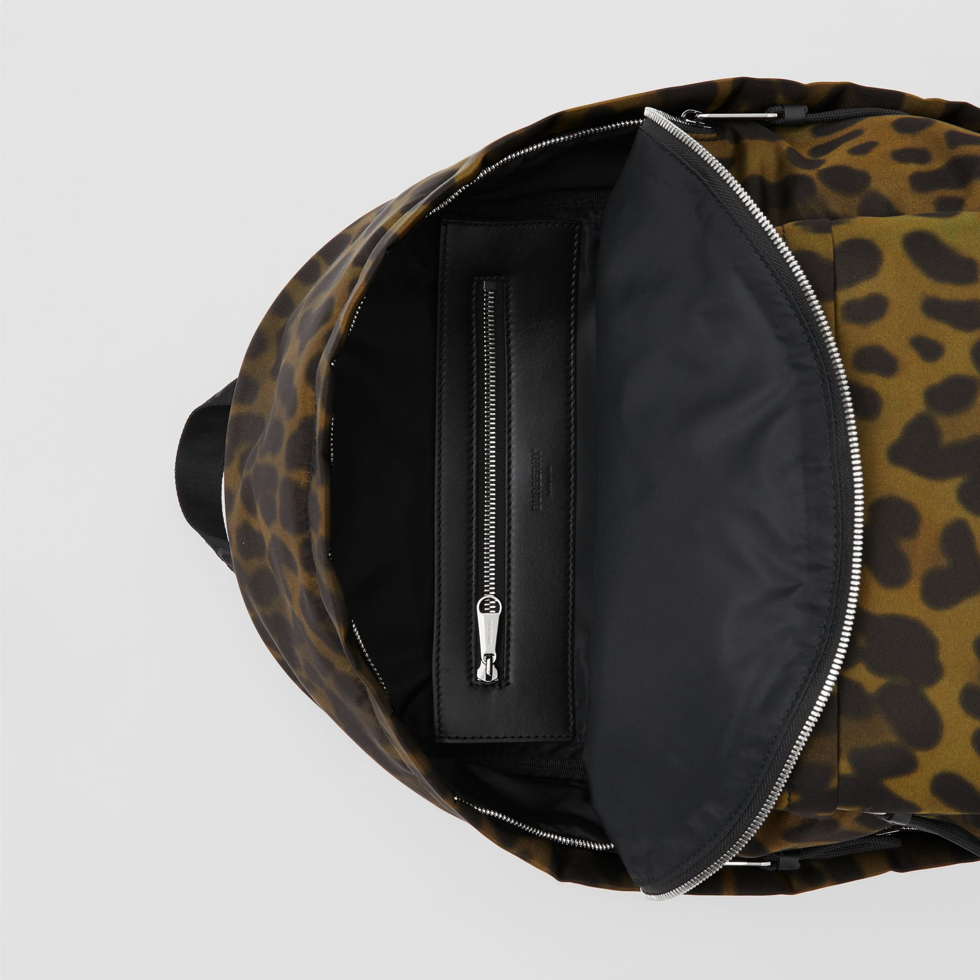Leopard Print Nylon Backpack in Khaki Green | Burberry Australia - gallery image 4