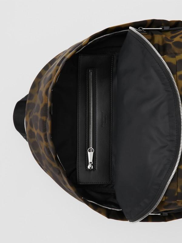 Leopard Print Nylon Backpack in Khaki Green - Men | Burberry United States - cell image 3
