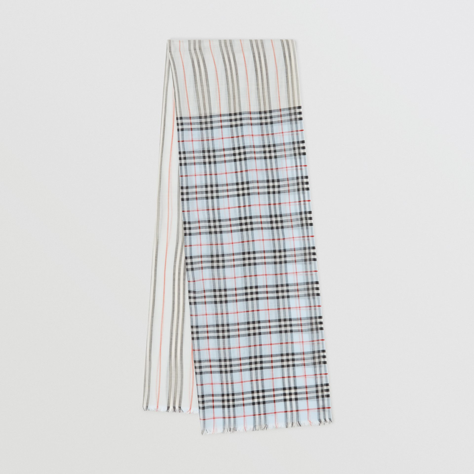 Icon Stripe and Vintage Check Wool Silk Scarf in Pale Blue | Burberry Australia - gallery image 0