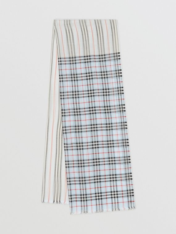 Icon Stripe and Vintage Check Wool Silk Scarf in Pale Blue