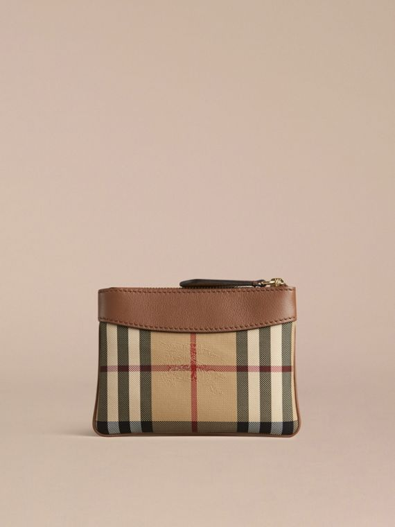 Tan Horseferry Check and Leather Pouch Tan - cell image 3