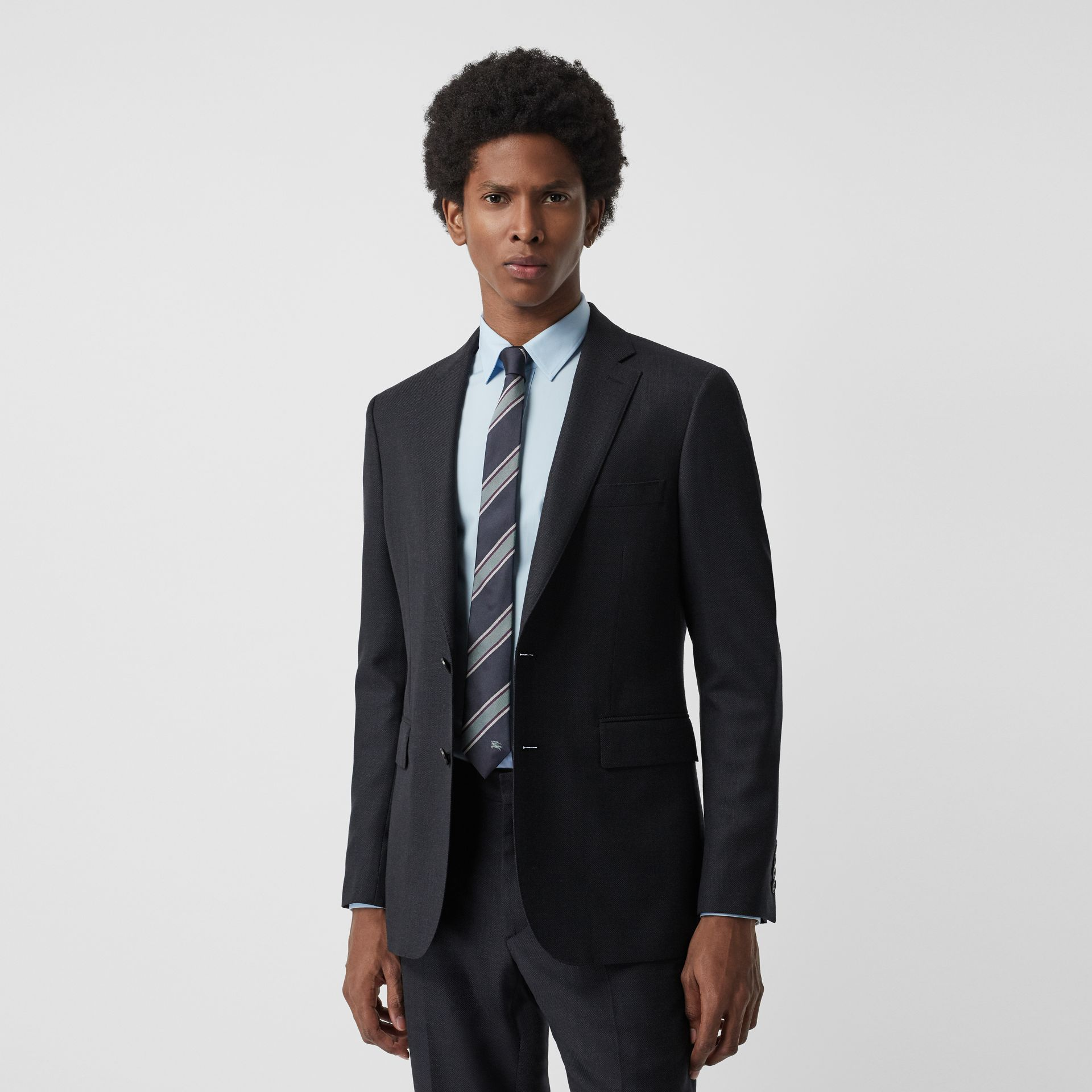 Slim Fit Birdseye Wool Suit in Navy - Men | Burberry - gallery image 7